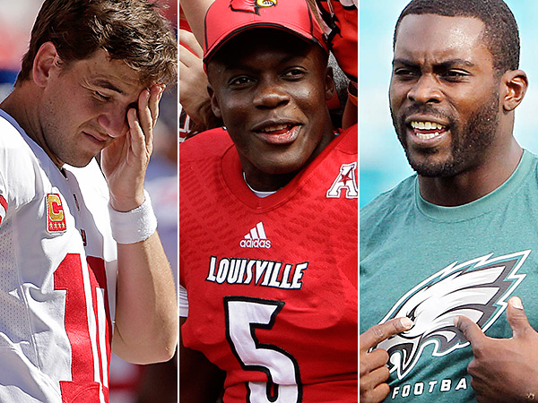 Giants quarterback Eli Manning, Louisville´s Teddy Bridgewater, and Eagles´ Michael Vick. (AP, Staff Photos)
