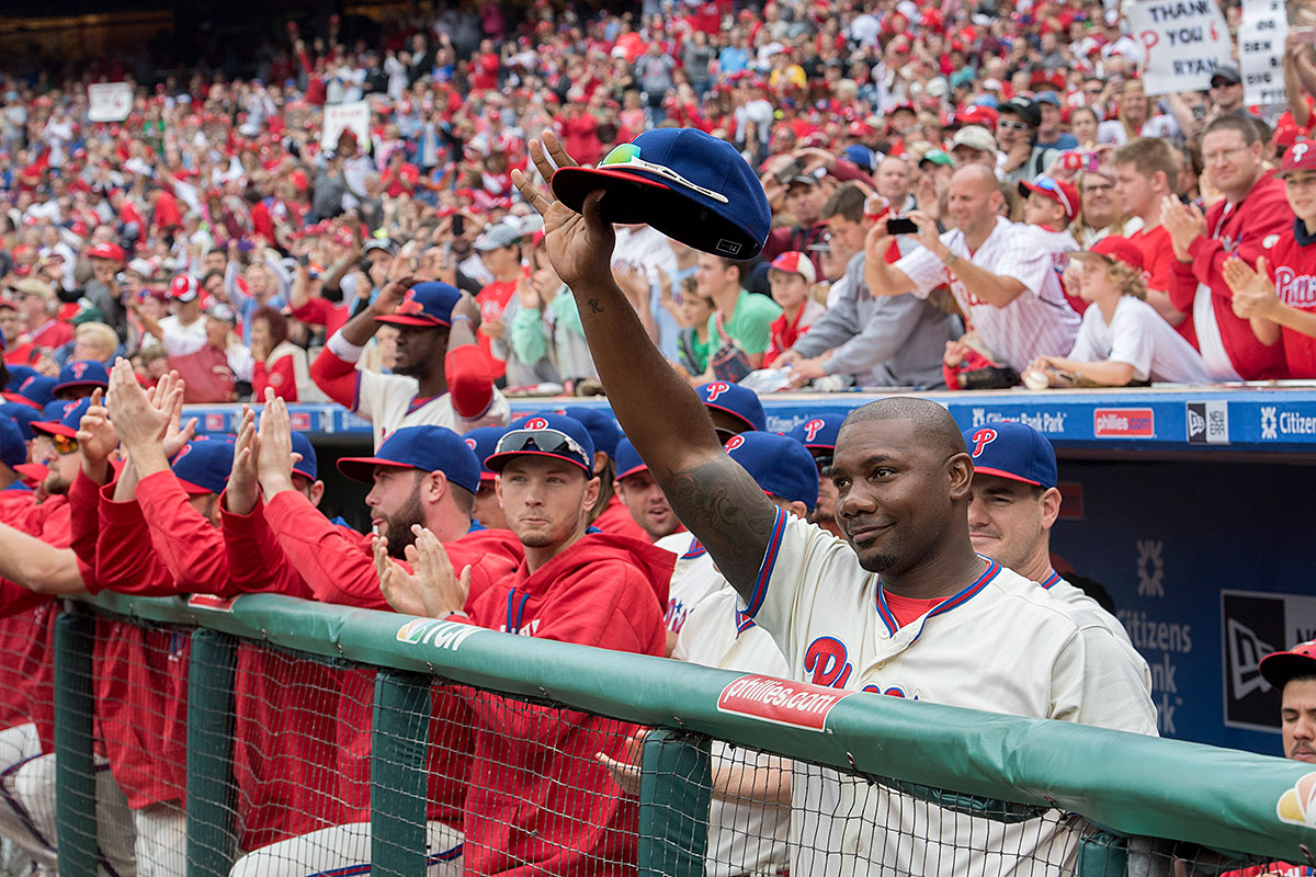 Ryan Howard acknowledges the cheers of the fans raining down on him at Citizens Bank Park.