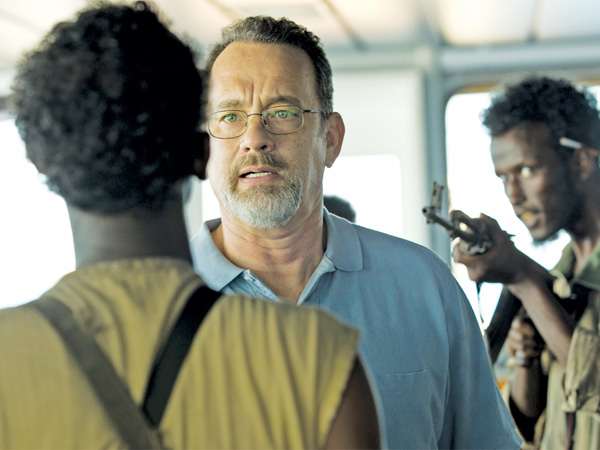"Tom Hanks under siege in ""Captain Phillips."""