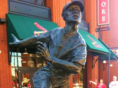 "There is a statue of James ""Cool Papa"" Bell outside Busch Stadium in St. Louis. (Bob Ford/Staff)"