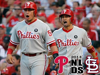 Carlos Ruiz and Shane Victorino wait for Ben Francisco at home after Francisco´s home run. (Ron Cortes/Staff Photographer)