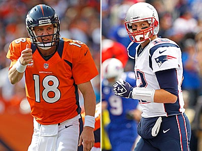 Peyton Manning and Tom Brady will face off once again Sunday afternoon. (AP file photos)