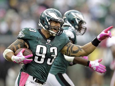 Jason Babin was fined $15,000 by the NFL. (AP Photo/Julio Cortez)