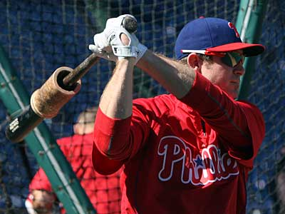 Chase Utley takes batting practice before the Phillies´ NLDS opener against the Rockies. (Steven M. Falk / Staff Photographer)