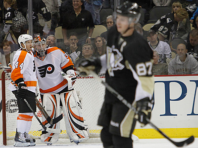Rookie goalie Sergei Bobrovsky helped the Flyers to a 3-2 victory against the Penguins in the season opener. (AP file photo/Keith Srakocic)