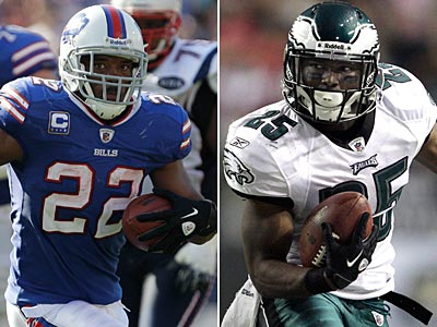 The Bills´ Fred Jackson and Eagles´ LeSean McCoy are the featured running backs for their teams. (Staff and AP Photos)
