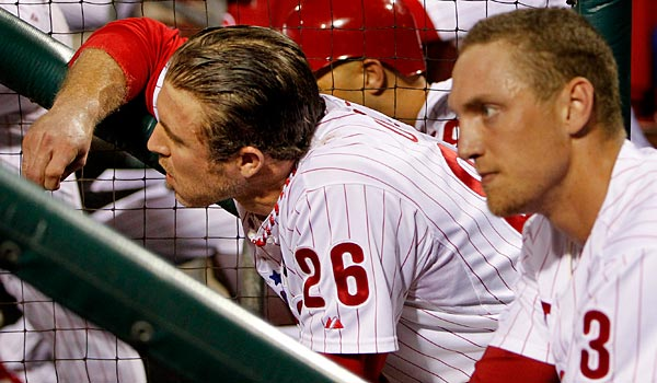 Chase Utley and Hunter Pence look on during the ninth inning of the Phillies´ 1-0 loss to the Cardinals in Game 5 of the NLDS. (Ron Cortes/Staff Photographer)