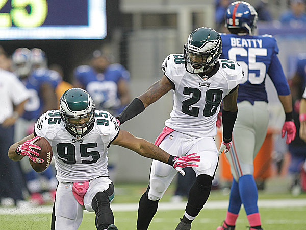 Eagles linebacker Mychal Kendricks and safety Earl Wolff. (Steven M. Falk/Staff Photographer)