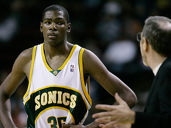Thunder forward Kevin Durant during his rookie season with the Sonics. (AP Photo/Ted S. Warren)