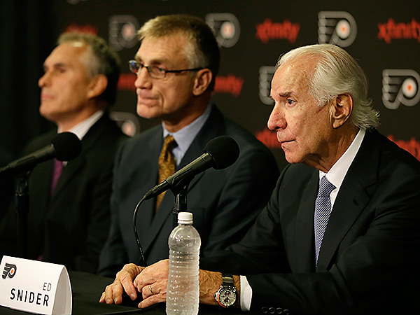 Flyers owner Ed Snider (right), general manager Paul Holmgren (center) and coach Craig Berube. (Matt Slocum/AP)