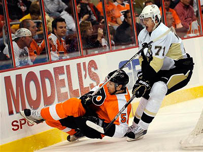 The Flyers´ Braydon Coburn, pictured during a game earlier this season, is listed day-to-day with a sprained ankle. (AP Photo/Michael Perez)