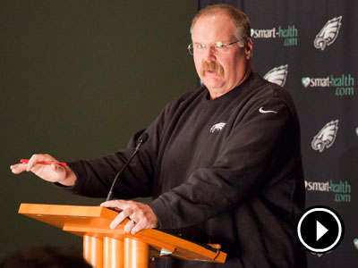 Andy Reid talks to the press on Monday after the Eagles fell to the Steelers. (Ryan S. Greenberg/Staff Photographer)