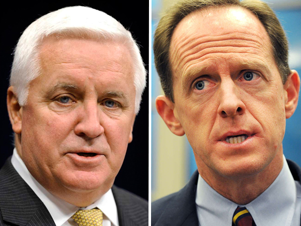 A Republican insider went so far as to confirm there is a coordinated effort to recruit arguably the most popular Republican politician in Pennsylvania, U.S. Sen. Pat Toomey, right, to challenge Corbett, left, according to the website Politics PA.