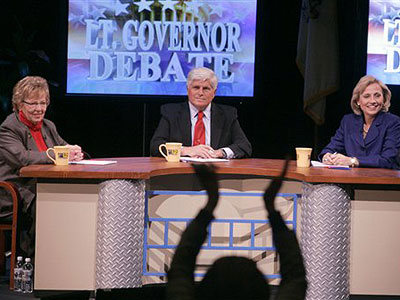 At a 2009 lieutenant governor debate, Democratic State Sen. Loretta Weinberg faced off against independent Frank Esposito and the ultimate winner, Gov. Christie´s running mate and now lieutenant governor, Kim Guadagno. The debate was at Monmouth University in West Long Branch. (AP Photo / Asbury Park Press, Thomas P. Costello)