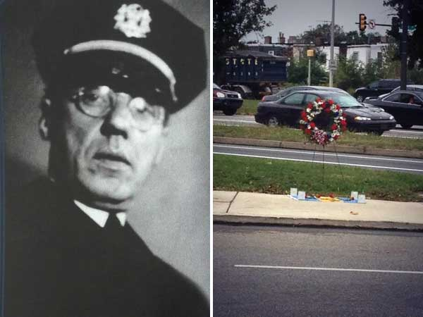 Philadelphia police Capt. Hugh McCann (left) died while directing traffic in 1941. A plaque was dedicated in his honor on Oct. 9, 2013. (Photos from @PhillyPolice on Twitter)