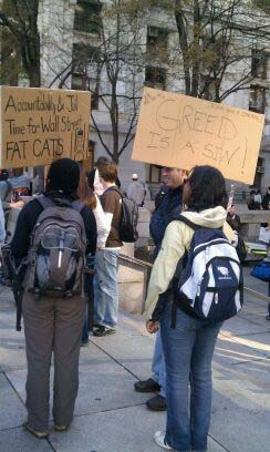 Occupy Philly protesters outside City Hall yesterday.