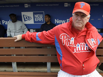 The mother of Phillies manager Charlie Manuel, June, died today after suffering a heart attack Tuesday. Manuel is at the ballpark and will still manage Game 2 of the NLCS tonight. (AP Photo / Manuel Balce Ceneta)