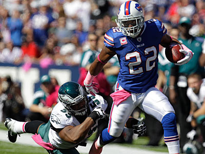 Bills running back Fred Jackson ran for 111 yards against the Eagles on Sunday. (David Duprey/AP)