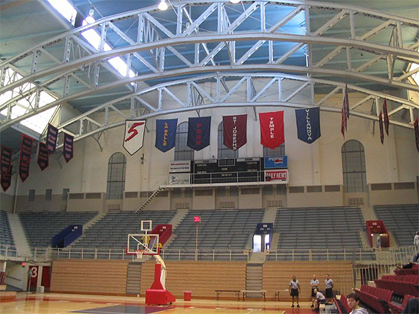 An old photo (but not too old) of the Big 5 banners in the Palestra´s rafters. Hopefully they come back some day. (Jonathan Tannenwald/Philly.com)