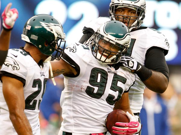 Mychal Kendricks after an interception. (Ron Cortes/Staff Photographer)
