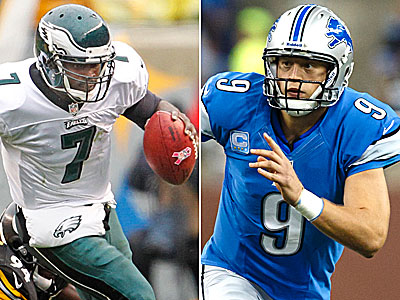 Michael Vick and Matthew Stafford will square off Sunday as the Eagles host the Lions. (Staff and AP Photos)