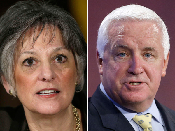 The 2014 Pa. governor´s race officially starts Tuesday at 8:01 p.m. U.S. Rep. Allyson Schwartz (left) is among the Democrats seeking to challenge Gov. Tom Corbett´s run for a second term. (File Photos)