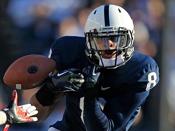 Penn State wide receiver Allen Robinson (8) can&acute;t hang onto a pass as<br />Indiana cornerback Kenny Mullen (22) defends during the fourth quarter<br />of an NCAA college football game in State College, Pa., Saturday, Nov.<br />17, 2012. Penn State won 45-22. (AP Photo/Gene J. Puskar)