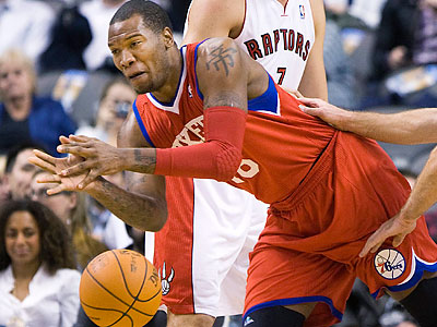 The 76ers lost to the Raptors, 119-116 in double overtime, in Toronto tonight. (Nathan Denette/Canadian Press/AP)