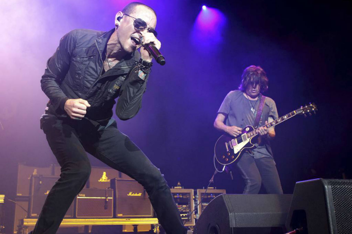 """FILE - In this May 16, 2015, file photo, Chester Bennington performs in concert during the MMRBQ Music Festival 2015 at the Susquehanna Bank Center in Camden, N.J. Bennington´s band Linkin Park released an episode of """"Carpool Karaoke"""" on Oct. 12, 2017, that was taped in July, six days before Bennington took his own life on July 20."""