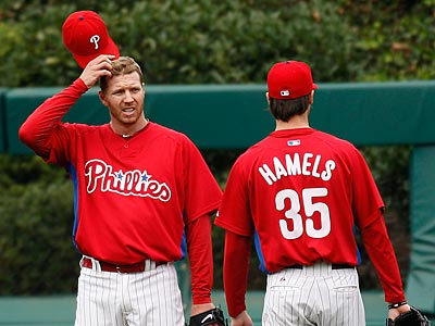 Roy Halladay (left) and Cole Hamels were key in the Phillies´ sweep of the Reds in the NLDS. (David Maialetti/Staff Photographer)