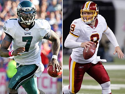 Michael Vick and the Eagles will try to snap their four-game losing streak against Rex Grossman and the Redskins. (Staff and AP Photos)