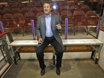 Dave Schultz sits in the penalty box of the Wachovia Spectrum. He will be inducted into the Flyers Hall of Fame on Monday. (Alejandro A. Alvarez / Staff Photographer)
