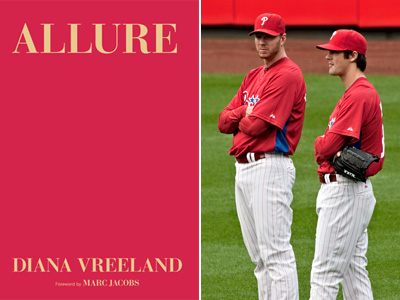 Left, the latest cover of ´Allure´ by Diana Vreeland, who practically made the ´Phillies red´ color (on pitchers Roy Halladay and Cole Hamels). (David M Warren / Staff Photographer)