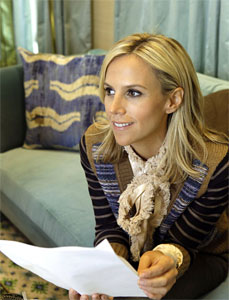 Fashion designer Tory Burch is shown in her flagship women´s clothing store on Madison Avenue in New York, Tuesday, Sept. 20, 2011. (AP Photo/Kathy Willens)