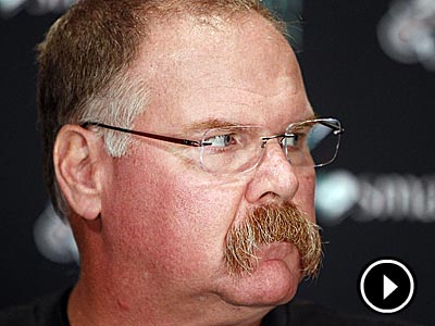 Andy Reid speaks to the media during his weekly press conference on Monday. (David Maialetti/Staff Photographer)