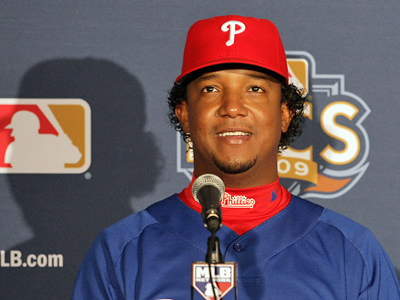 Pedro Martinez meets with the media to talk about starting Game 2 of the NLCS.  (Yong Kim / Staff Photographer)