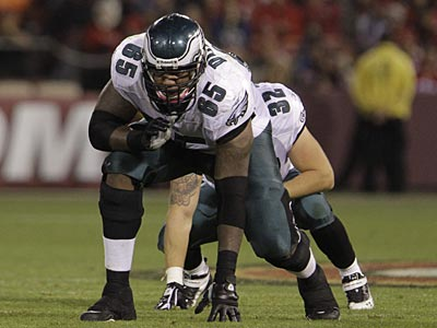 Eagles tackle King Dunlap played well in his first career start Sunday against the Falcons. (AP Photo/Paul Sakuma)