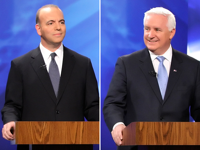 Democrat Dan Onorato (left) and Republican Tom Corbett (right) are running for governor of Pennsylvania. (Steven M. Falk / Staff Photographer)