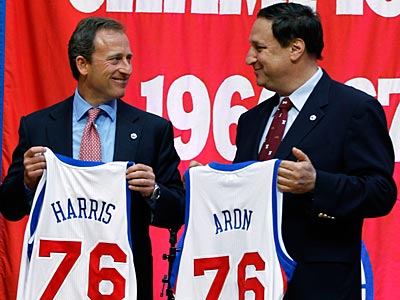 New Sixers owner Joshua Harris and new CEO Adam Aron held a press conference Tuesday. (Matt Rourke/AP)