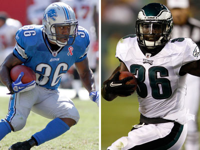 The Eagles will receive running back Jerome Harrison, left, from the Lions in exchange for Ronnie Brown. (AP Photos)