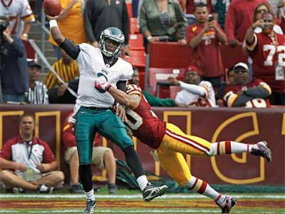 Eagles backup QB Vince Young played two snaps against the Redskins and was intercepted once. (AP Photo/Pablo Martinez Monsivais)