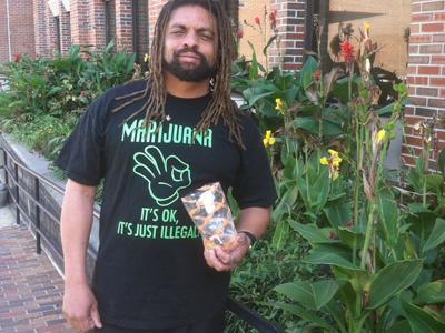 "Ed Forchion, known as the ""NJ Weedman,"" was acquitted Thursday of drug charges after admitting he possessed a pound of marijuana during a traffic stop and was eating marijuana cookies during his trial. (Jan Hefler / Staff)"