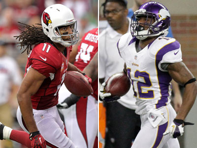 Percy Harvin and the Vikings take on Larry Fitzgerald and the Cardinals this Sunday. (AP Photos)