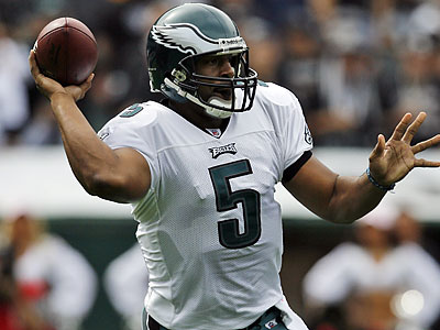 Donovan McNabb was given little time in the pocket by his offensive line against the Raiders. (Tony Avelar/AP)