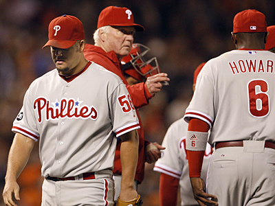 Joe Blanton allowed three earned runs in 4 2/3 innings of work in Game 4 of the NLCS. (Ron Cortes / Staff Photographer)