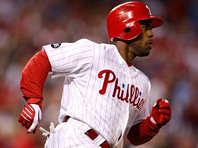 Shortstop Jimmy Rollins had a single and two stolen bases in Game 5 of the NLCS. (David Maialetti / Staff Photographer)