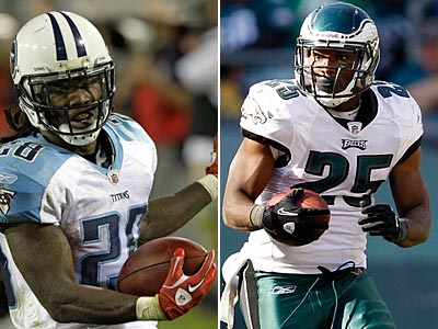 Chris Johnson and LeSean McCoy will face of at running back for the Titans and the Eagles Sunday. (AP Photos)
