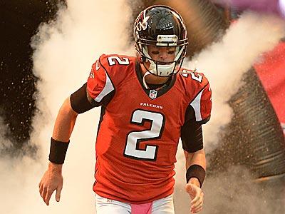 Falcons quarterback Matt Ryan (2) runs onto the field before a game against the Raiders. (Rich Addicks/AP)