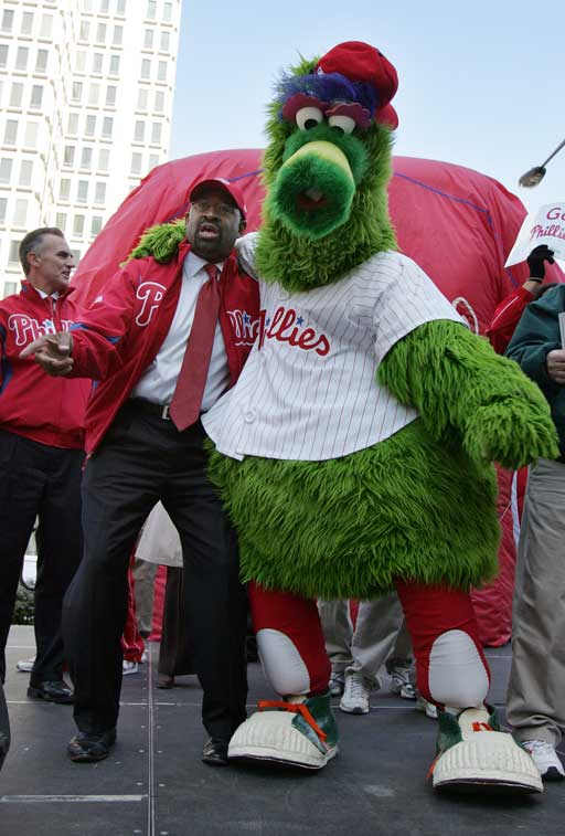 Mayor Michael Nutter with the Phillie Phanatic at the rally. (Barbara L. Johnston / Staff Photographer)