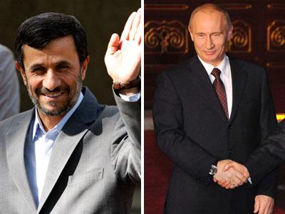 Iranian President Mahmoud Ahmadinejad (left) and Russian Prime Minister Vladimir Putin. (AP Photos)
